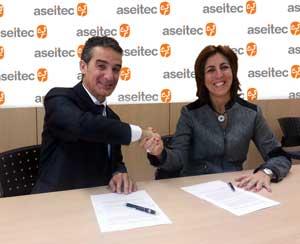 Pedro Gómez, president de l'Aseitec i Maite Moreno, CEO de Monday Happy Monday